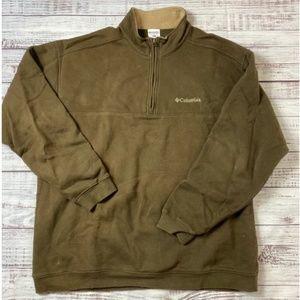 Columbia Brown Quarter Zip Fleece Pullover